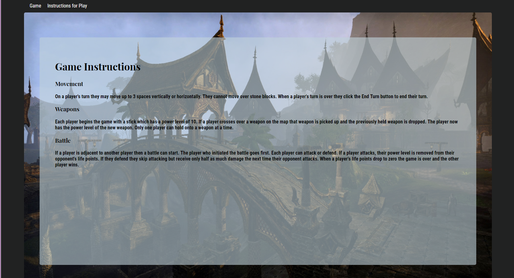 Screenshot of game instructions